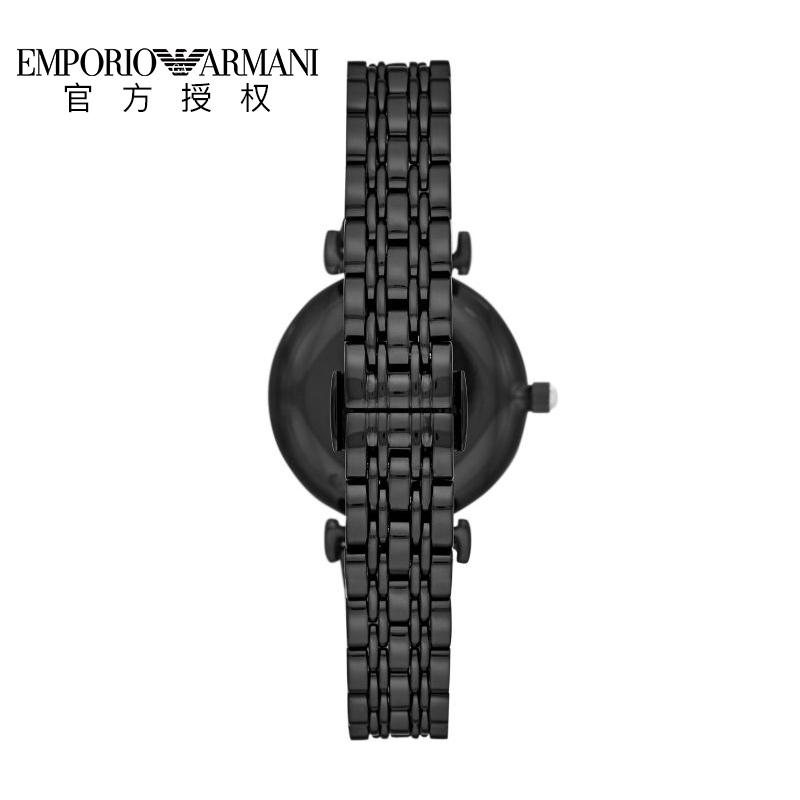 Armani阿玛尼手表石英表黑边白珍珠黑表盘钢带时尚女手表AR11268