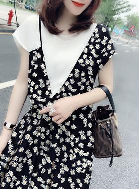 气质减龄小雏菊短袖收腰中长款连衣裙欧洲站2020夏季女装新款欧货