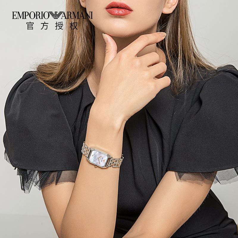 Armani阿玛尼手表女正品 方形贝母钢带时尚镶钻女士石英表AR11146