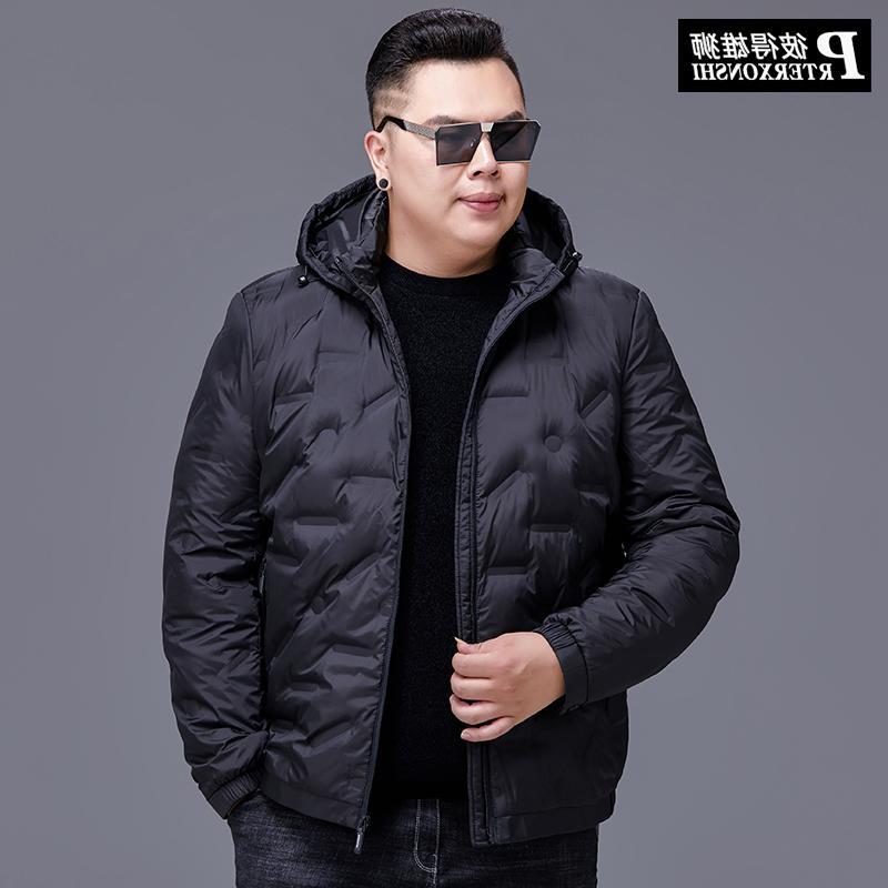 高档正品牌加肥加大羽绒服男冬装时尚胖子特大码短款宽松外套肥佬