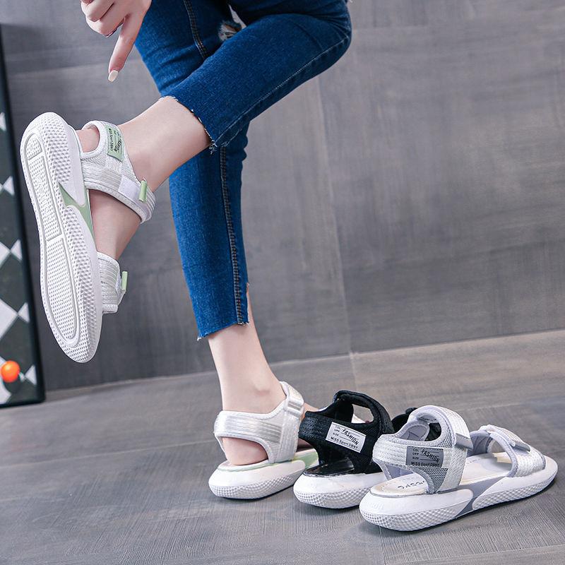 夏天凉鞋女学生韩版外穿2020新款百搭网红平底魔术贴沙滩罗马女鞋