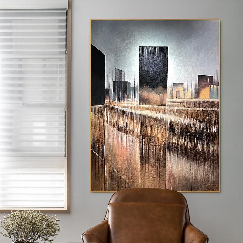 藝碩原創手繪 |抽象油畫 現代簡約金色輕奢美式玄關裝飾畫大幅
