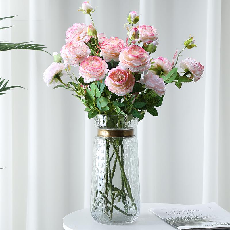牡丹仿真花假花室内客厅装饰花摆件餐桌花摆设防真玫瑰花干花花束