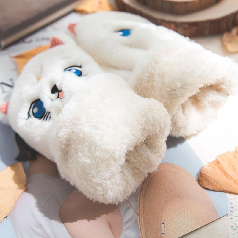 猫咪手套女士秋冬天可爱毛茸茸软妹保暖学生翻盖半指露指加绒手套
