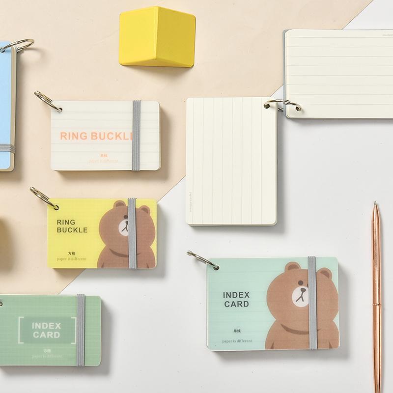 日系单词卡片环扣式创意字随身记忆卡空白卡片自制写字卡英语硬质卡片单词小本子书签卡小清新便签本便携迷你