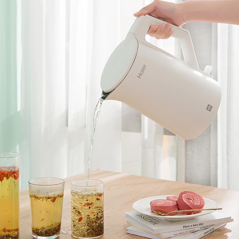 海尔家用电热水壶烧水壶恒温壶自动断电开水壶304食品级内胆1.7L