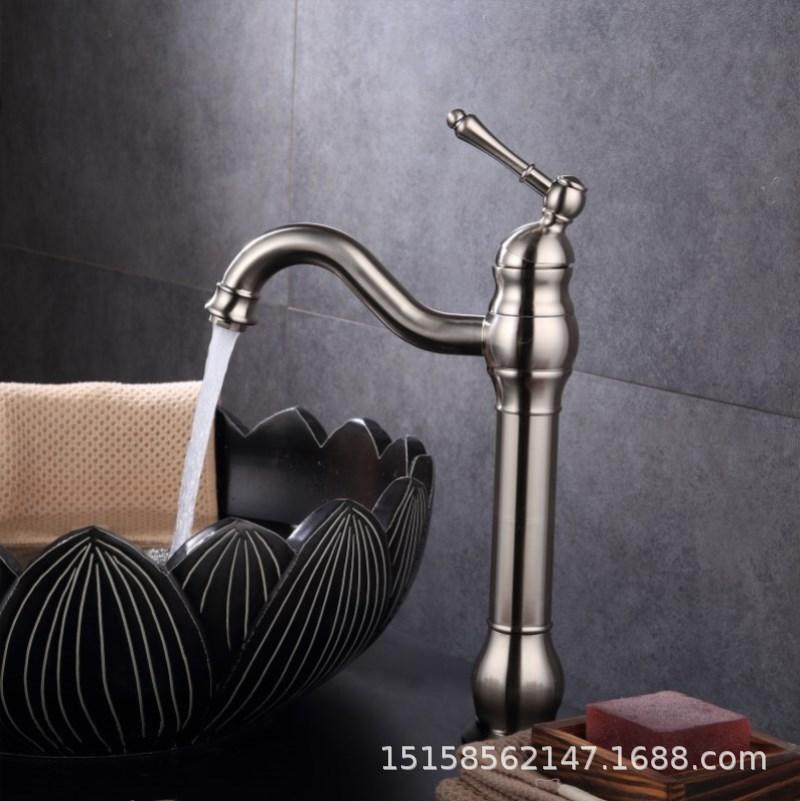厂家直销家装建材水暖五金全铜拉丝台上厨房水槽面盆水龙头