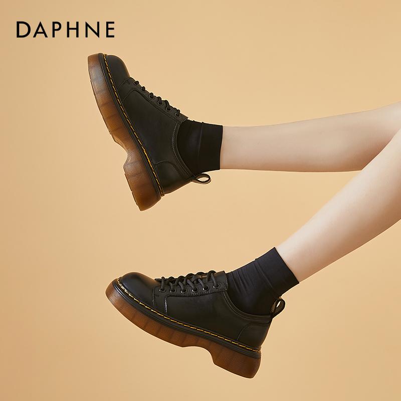 鞋增高单鞋 jk 年新款厚底松糕 2021 达芙妮圆头复古小皮鞋女夏英伦风