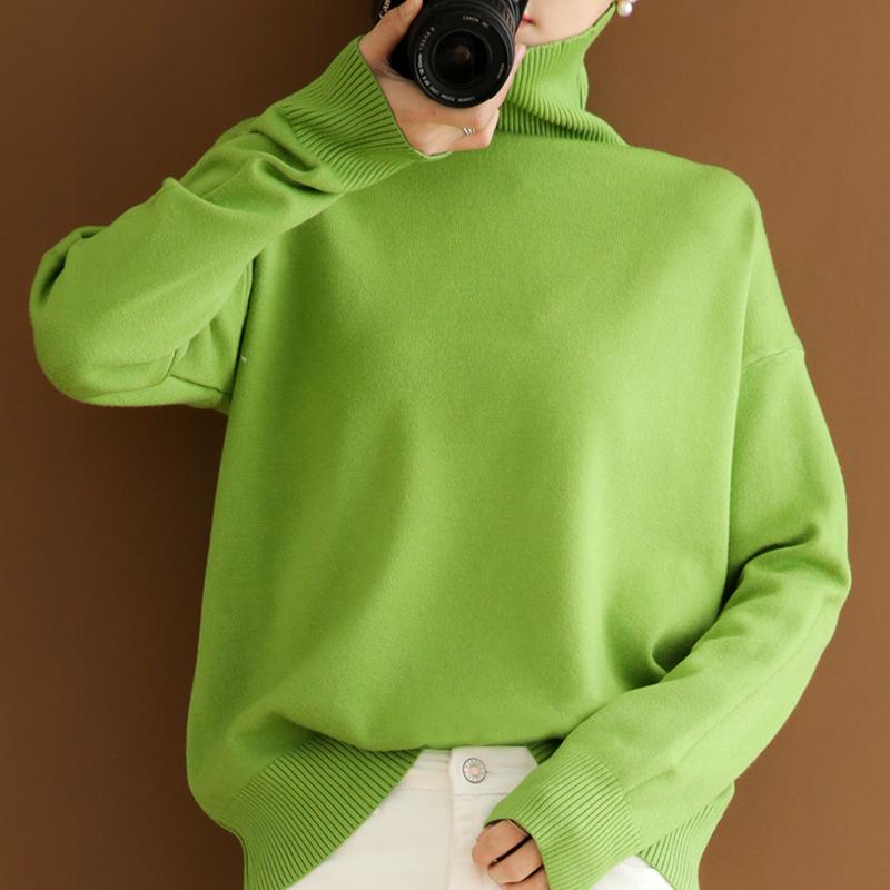 新款高领女加厚套头毛衣宽松慵懒风时尚内搭打底针织打底羊毛衫