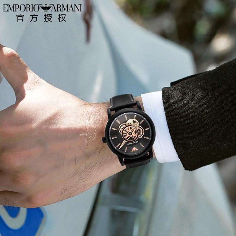 Armani阿玛全自动尼机械手表男时尚大气镂空机械男表正品AR60012