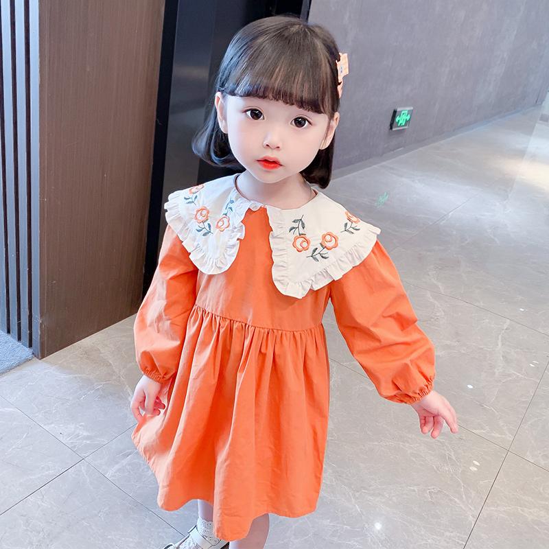 女童娃娃领裙子洋气新款春秋装2小女孩棉布公主裙3幼儿长袖连衣裙