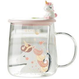 可爱玻璃杯独角兽透明带盖勺把手马克杯子少女心家用水杯耐热茶杯