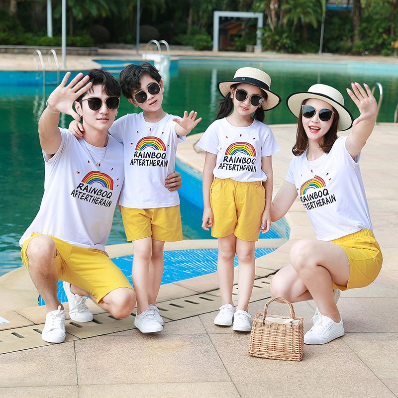 亲子装夏装 新款城家三口全家装海边度假套装母子母女沙滩装  2020
