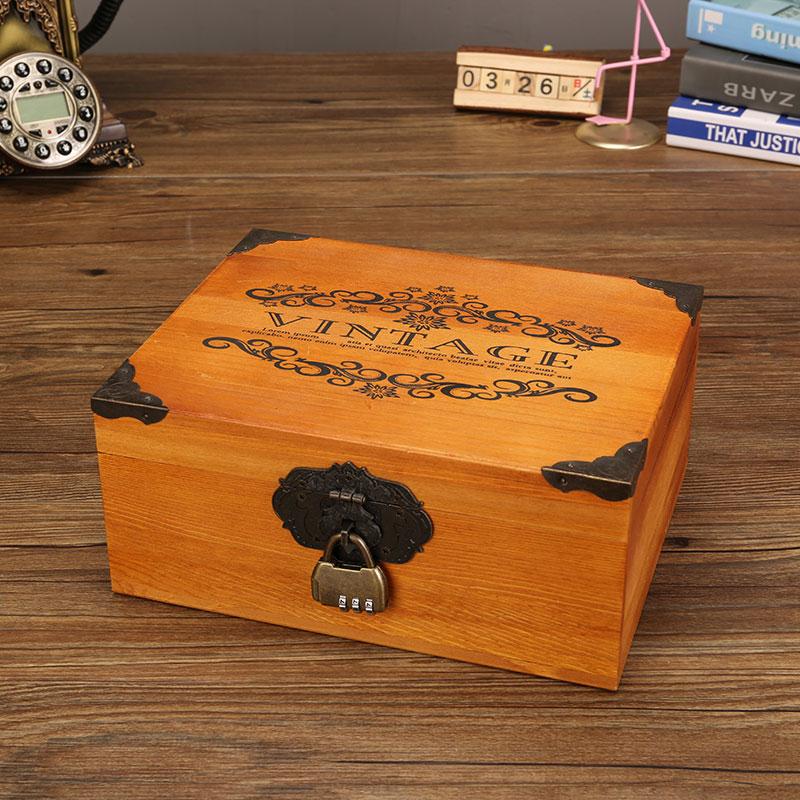 复古收纳盒木盒创意化妆品口红证件耳环木质精致梳妆盒密码首饰盒