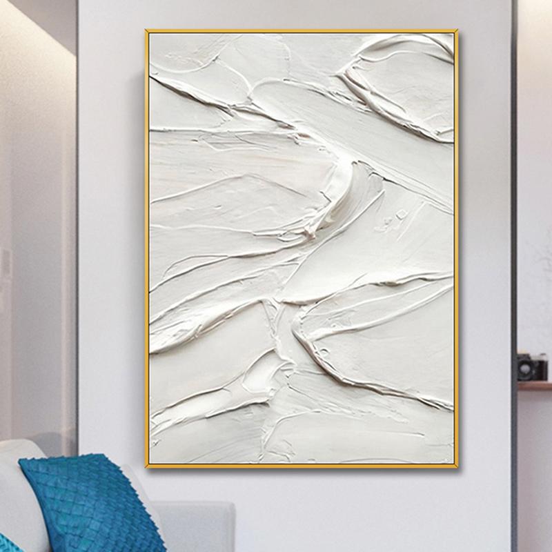 手繪油畫 現代簡約純白厚肌理抽象裝飾畫 玄關過道連廊掛畫 幻域