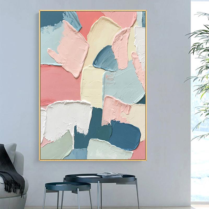 手绘油画 现代简约立体抽象厚肌理装饰画 幻象色彩 玄关过道挂画