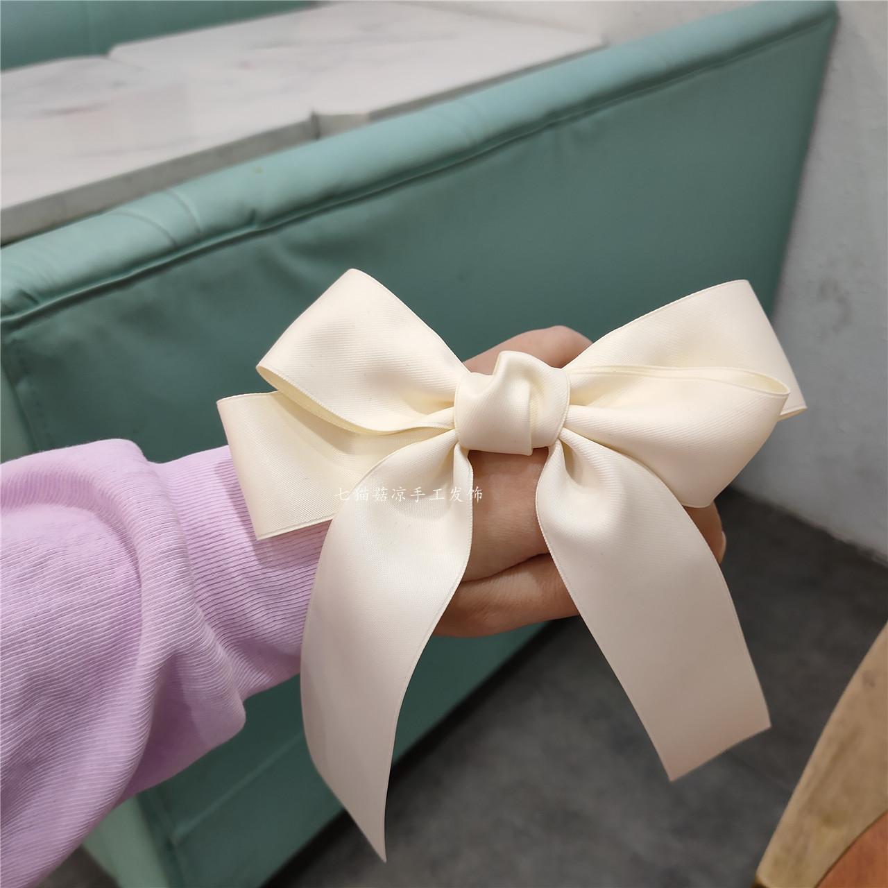 网红仙女款奶白色大蝴蝶结发夹飘带公主顶夹可爱气质少女发饰发卡