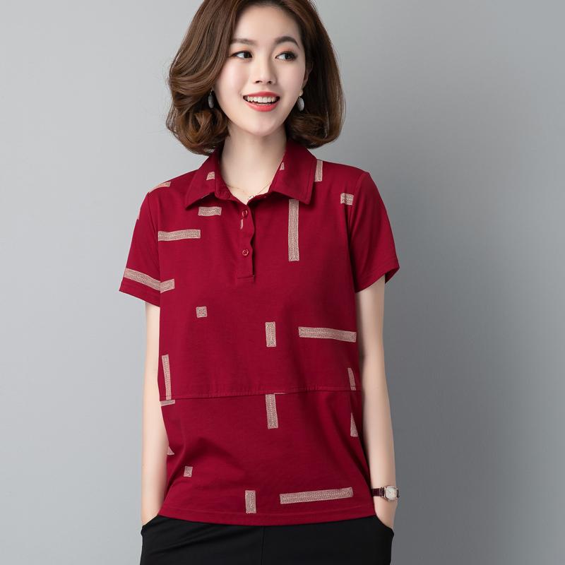 中年短袖纯棉T恤女polo领上衣夏款夏装时尚休闲40-50岁妈妈装小衫主图