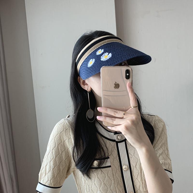 帽子女夏天雪梨同款空顶草帽遮阳帽户外露顶鸭舌帽沙滩太阳帽【图4】
