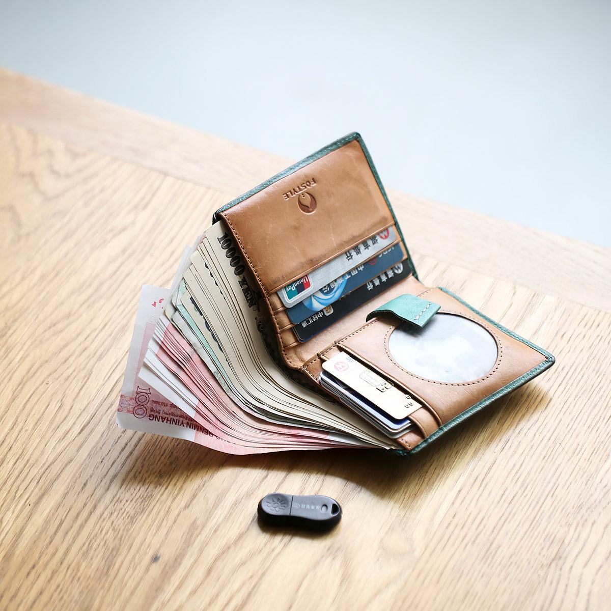 设计创意简约短款相片卡位钱包 菩提全植鞣牛皮手工 FOSTYLE