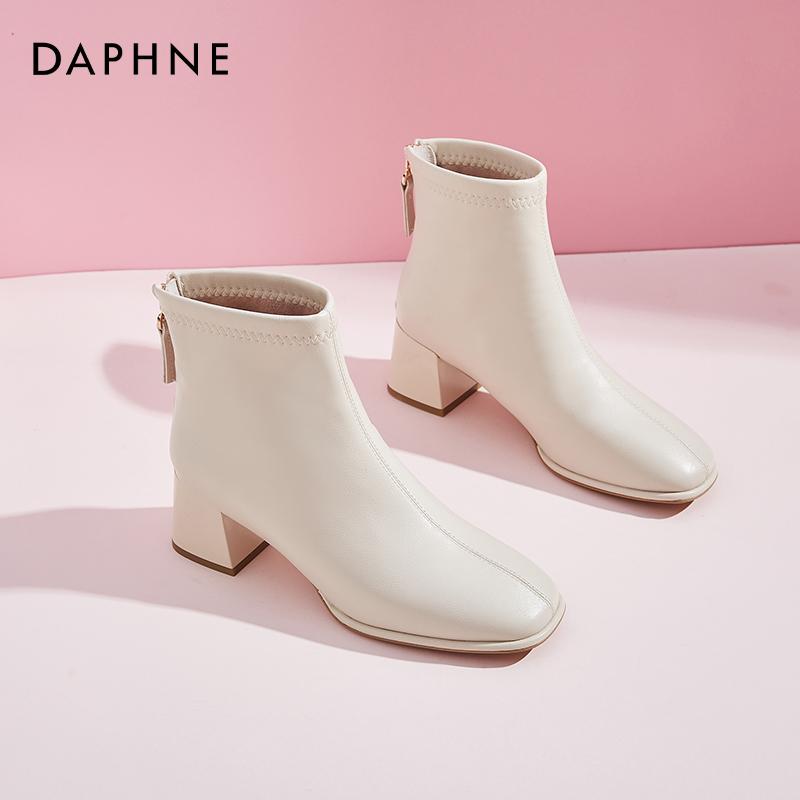 新款秋冬季韩版中跟粗跟马丁靴女英伦风 2020 达芙妮白色靴子女短靴
