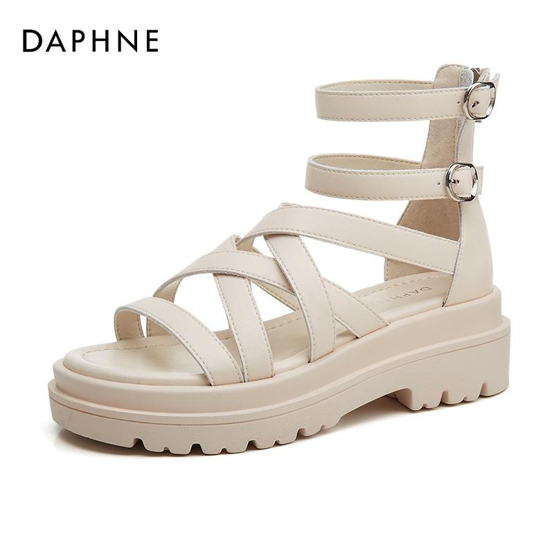 年新款百搭女鞋松糕鞋细带平底凉鞋 2021 达芙妮罗马凉鞋女夏季厚底