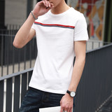 2019 men's short-sleeved t-shirt in the summer round neck T-shirt Slim Korean men's short-sleeve cotton compassionate tide ride white