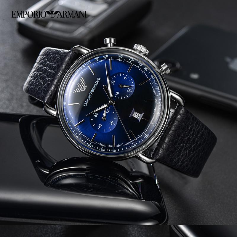阿玛尼手表男 飞行员系列时尚雅蓝皮带多功能石英腕表AR11105