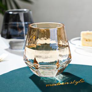 北欧 金边玻璃杯子ins风简约透明家用
