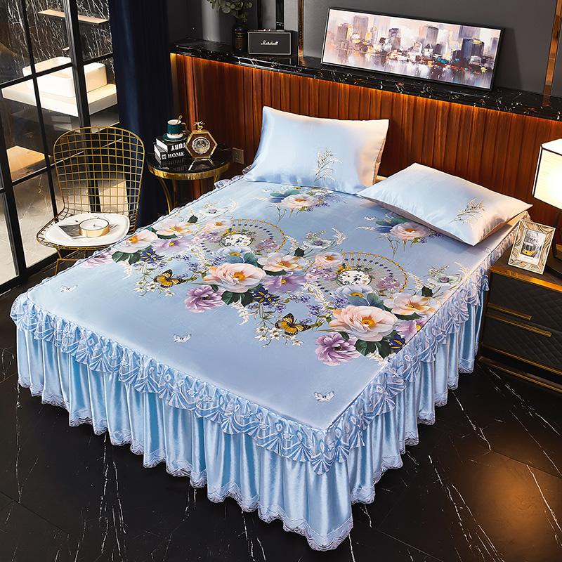 大阪花床裙夏季冰丝凉席三件套夏折叠席子1.5/米冰凉席单双人宿舍