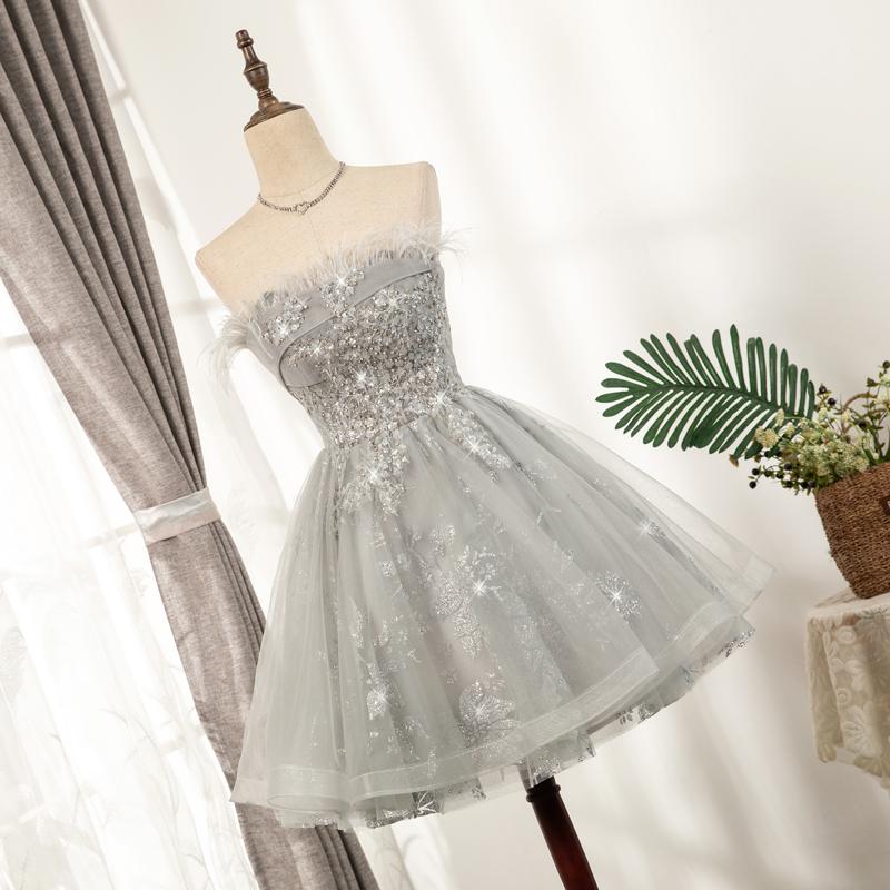 羽毛抹胸礼服短款性感小个子宴会生日名媛气质高贵银色亮片连衣裙主图