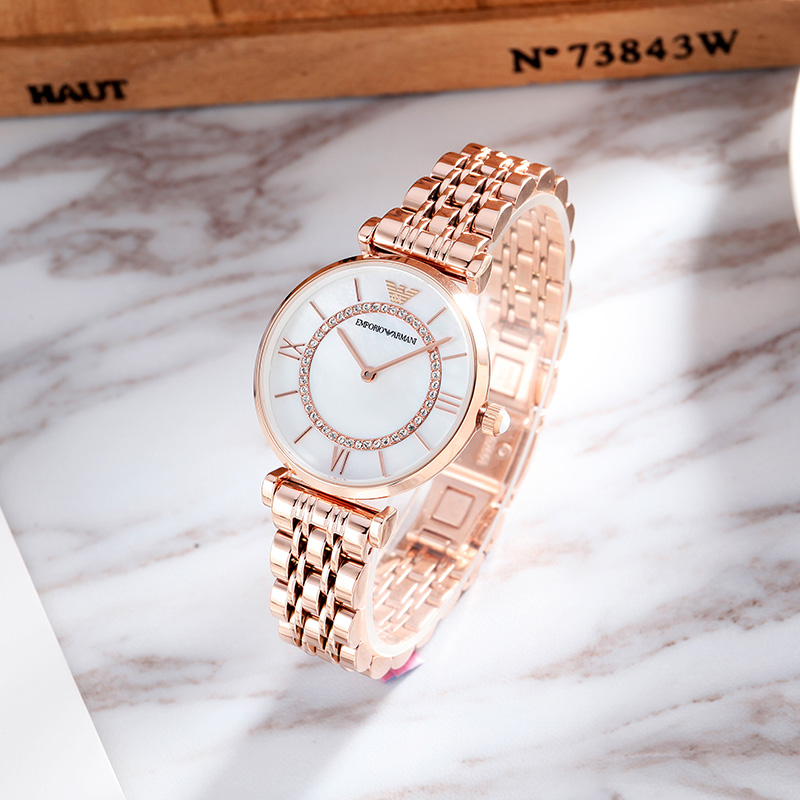 Armani阿玛尼手表女简约气质潮玫瑰金摩天轮满天星女士手表AR1909
