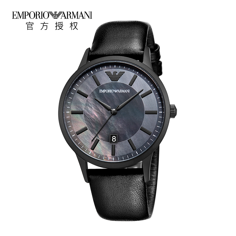Armani阿玛尼新款手表正品潮流皮带黑色时尚男士石英表AR11276
