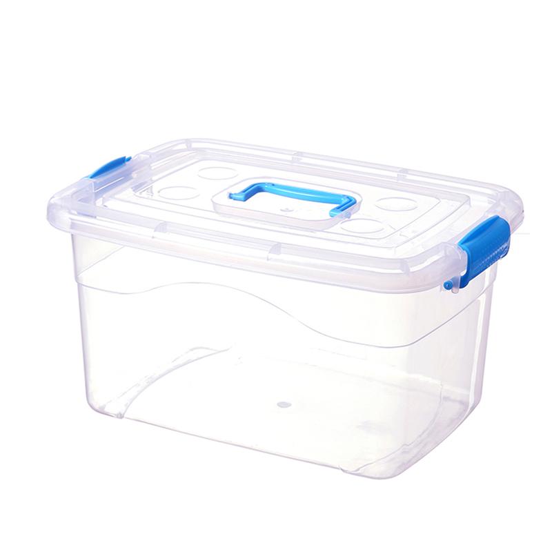 加厚手提透明收纳箱塑料玩具收纳盒有盖小中号衣服整理箱储物箱子
