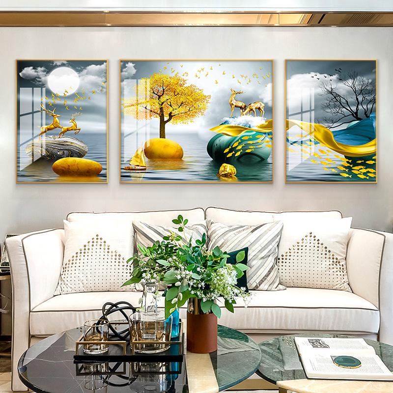 现代客厅装饰画沙发背景墙壁画轻奢镶钻三联晶瓷画北欧玄关挂画鹿