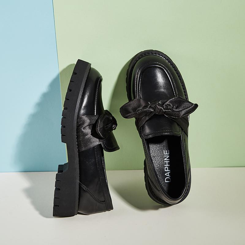 制服鞋子厚底加绒乐福鞋 jk 新款小皮鞋女英伦风 2020 达芙妮女鞋秋冬