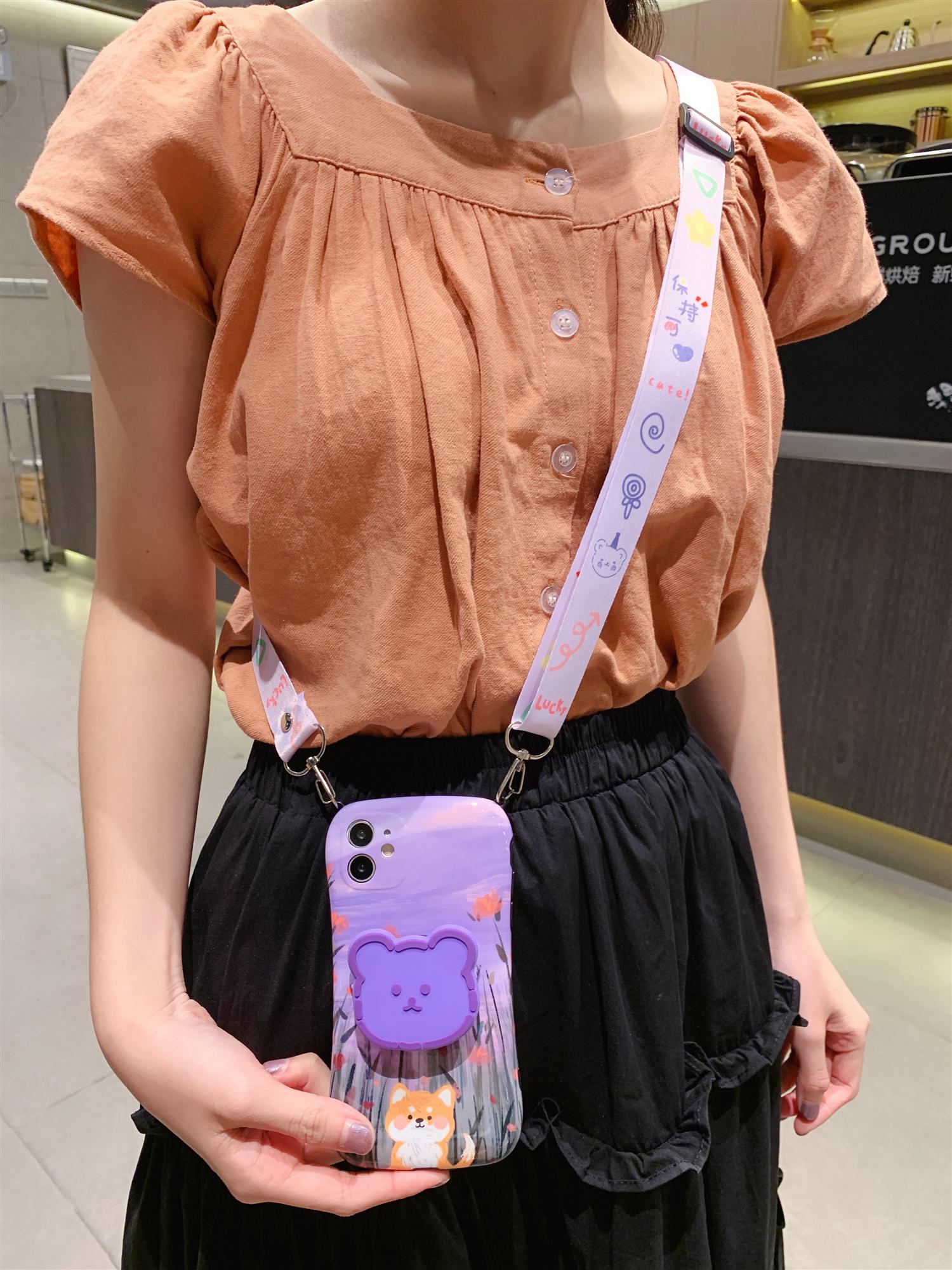 紫色油画网红女款适用苹果11手机壳7p斜跨可背包iphone8plus全包软壳11Pro小熊max防摔xs支架xr硅胶se2保护套