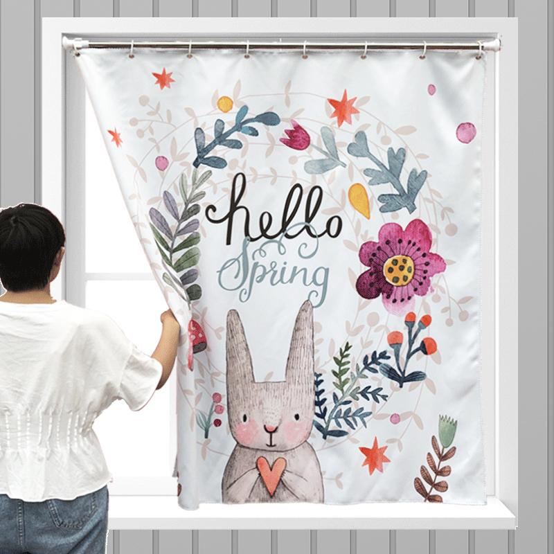 小窗帘免打孔安装遮光免安装短伸缩杆阳台厨房半帘厕所遮挡布浴室