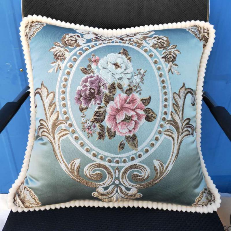 歐式靠墊抱枕客廳沙發靠枕高檔刺繡抱枕套子48cm腰枕汽車靠背含芯
