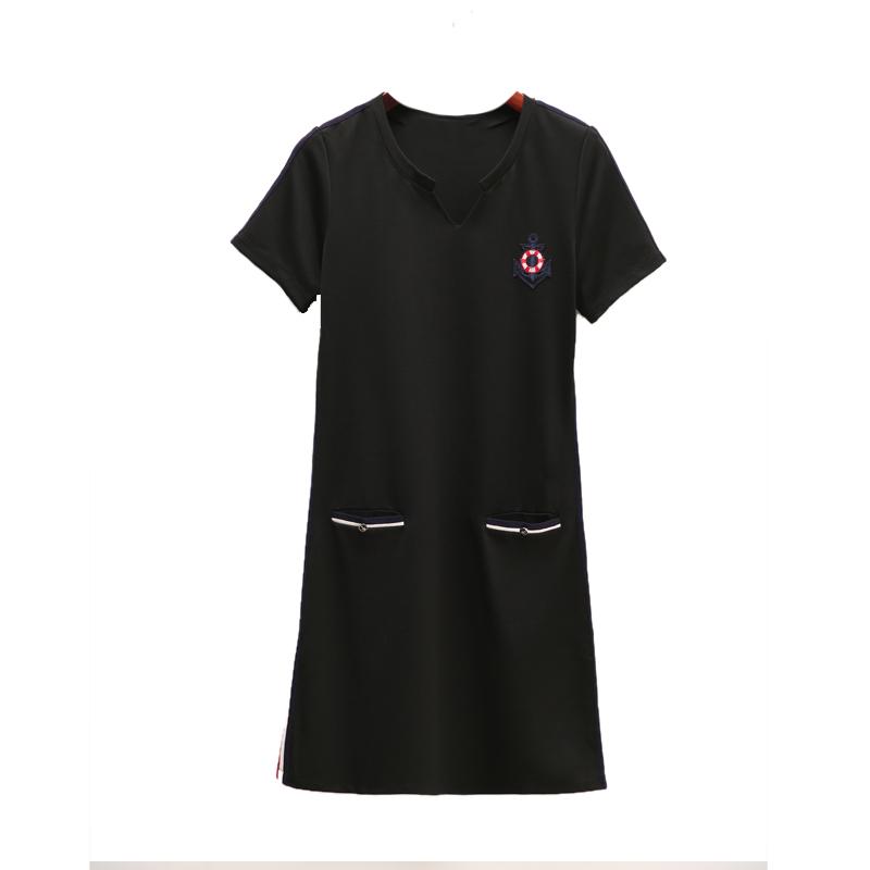 胖mm连衣裙女夏2019新款女装大码修身显瘦中长款短袖运动休闲裙子