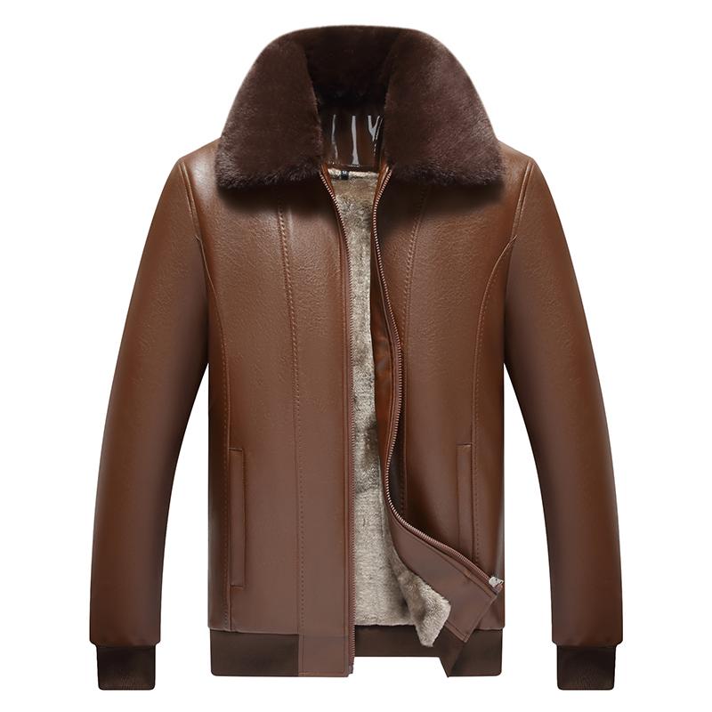 冬季新款中老年皮衣男加绒加厚爸爸装皮夹克中年男装仿真皮男外套 - 图3