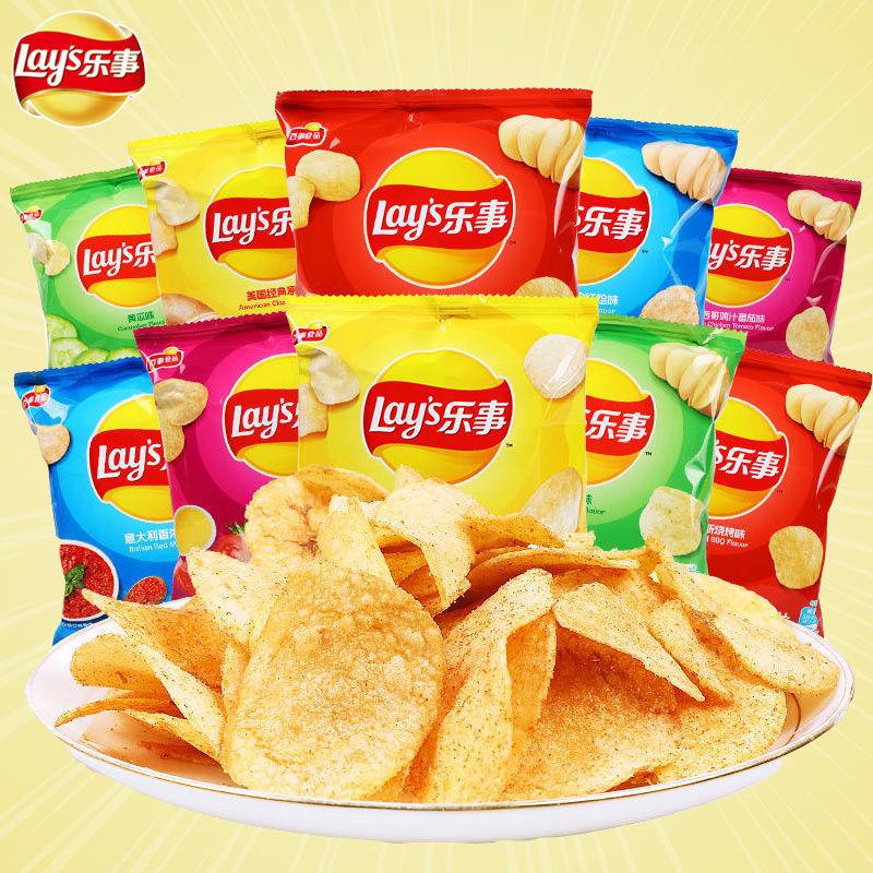 乐事薯片网红零食小吃休闲食品礼包膨化组合8包混合KTV聚会小食
