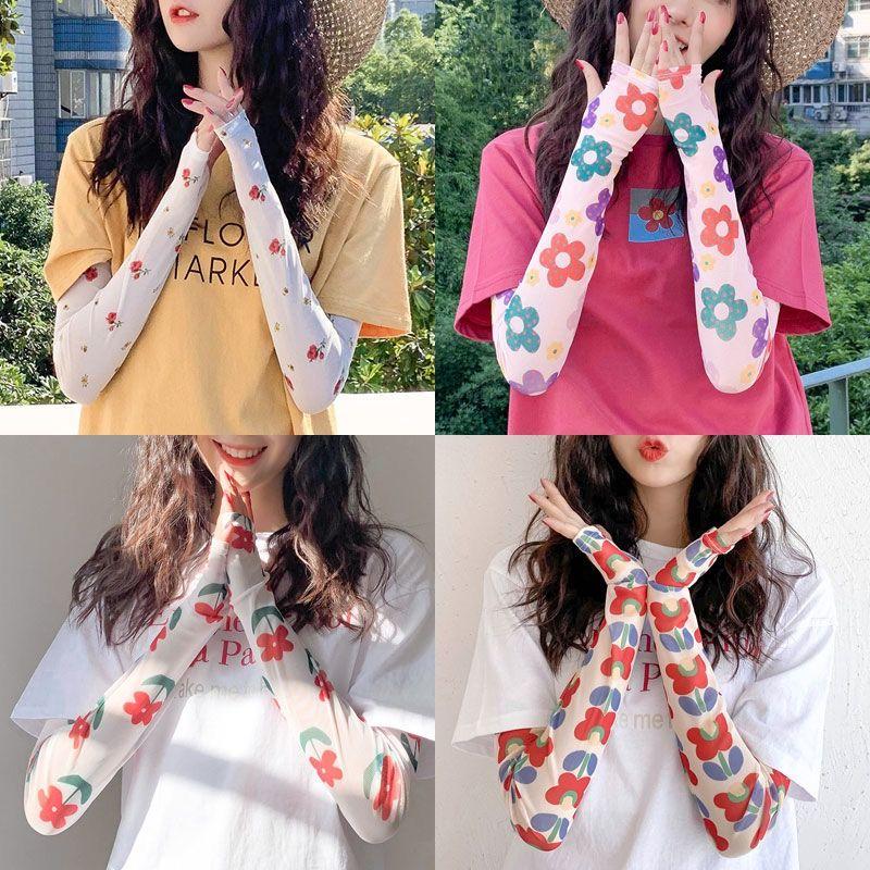 网红同款印花冰袖防晒女夏季防紫外线袖