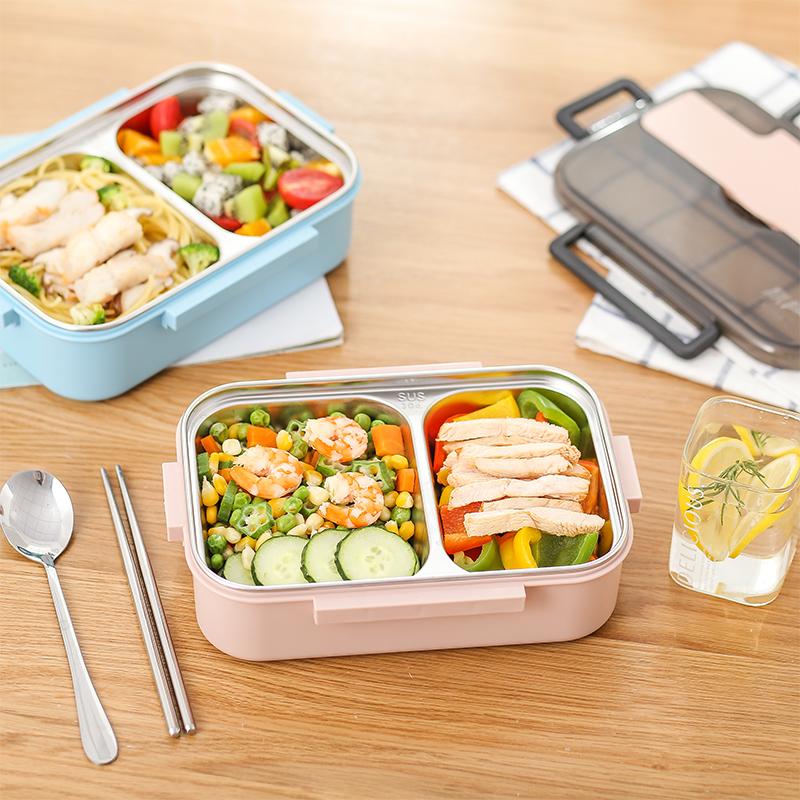304不锈钢饭盒分隔型儿童小学生便当盒分格上班族食堂打饭餐盒