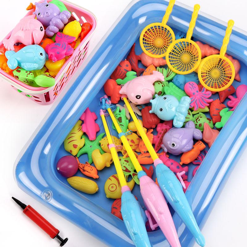儿童磁性钓鱼玩具池套装小孩鱼竿宝宝男女孩