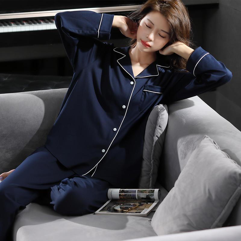 caser2021年新款睡衣女长袖纯棉春秋款套装大码两件套出门家居服