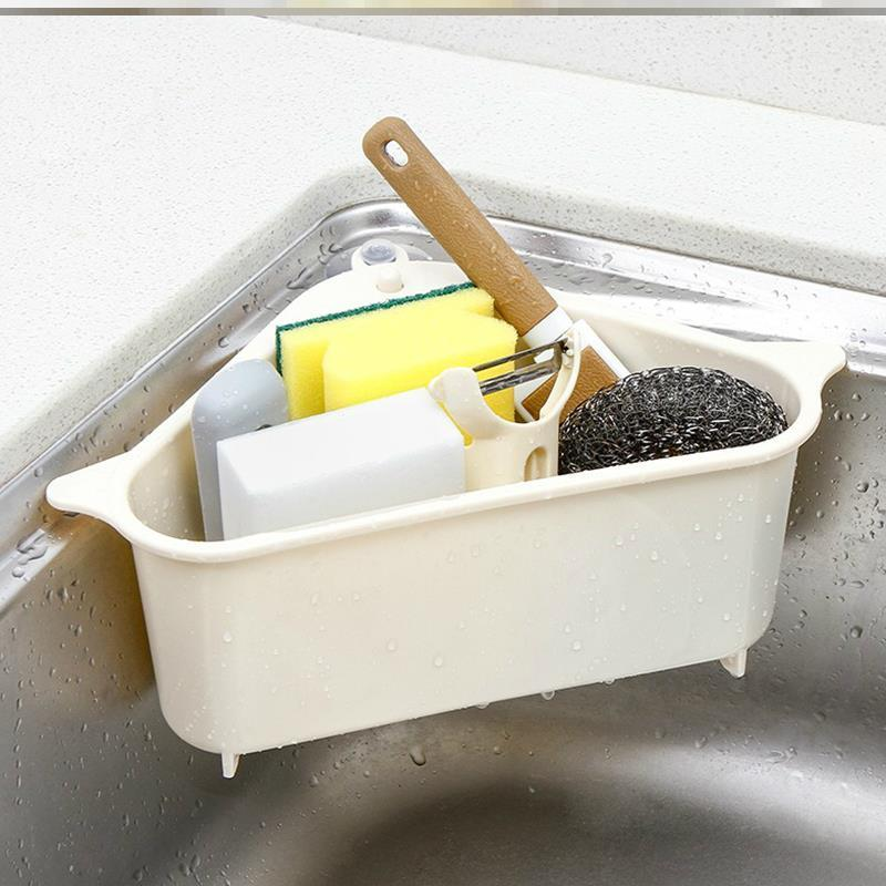 三角形厨房水槽沥水篮过滤筐吸盘式塑料置物架厨房用品抹布收纳篮