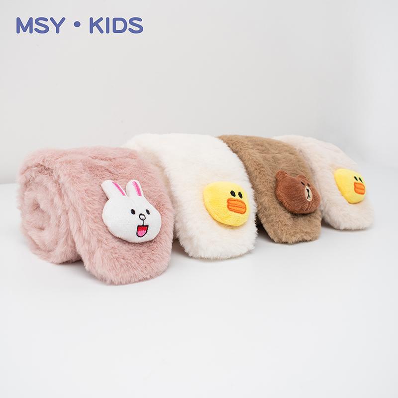 儿童围巾秋冬季婴儿宝宝防风脖套毛绒可爱男童女童保暖加厚围脖潮