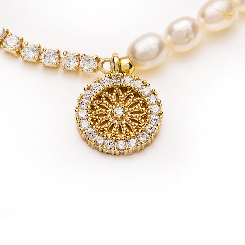 冷淡风小众设计拼色高级感 天然小米粒淡水珍珠罗盘手链  Name.s ins