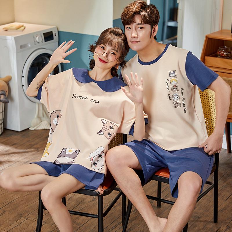 睡衣女夏季情侣薄款纯棉男士两件套短袖短裤夏天大码可外出家居服